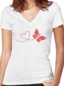 Butterfly, Heart, Forever Love, Valentine´s Day Women's Fitted V-Neck T-Shirt