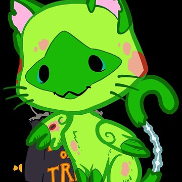 Halloween Chibi Winged Kitty - Siamese Zombie Cat by ghostfire