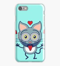 Odd cat showing hearts and feeling crazy in love iPhone Case/Skin