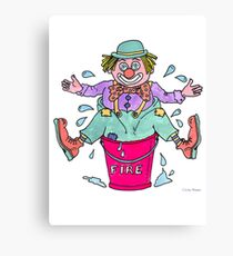 Clown Stuck in a Bucket Canvas Print