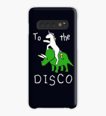 Funda/vinilo para Samsung Galaxy To The Disco (texto blanco) Unicorn Riding Triceratops