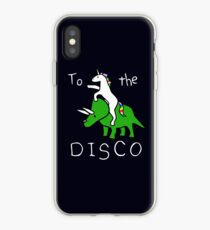Zur Disco (weißer Text) Unicorn Riding Triceratops iPhone-Hülle & Cover