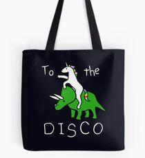 To The Disco (white text) Unicorn Riding Triceratops Tote Bag