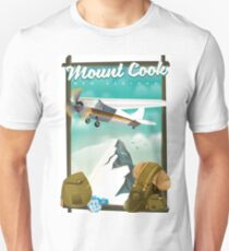 Mount Cook New Zealand travel poster of a light aircraft flying past the mountain. T-Shirt
