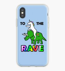 To The Rave! (Unicorn Riding Triceratops) iPhone Case