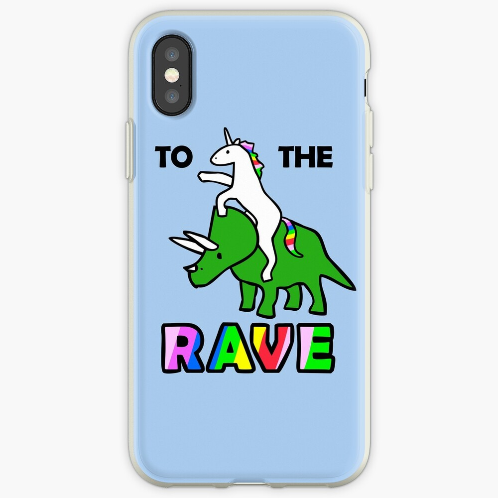 To The Rave! (Unicorn Riding Triceratops) iPhone Case & Cover