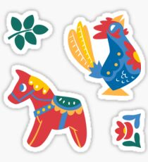 Red Horses and Blue Roosters Sticker