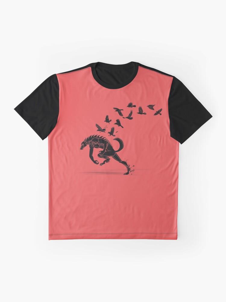 Alternative Ansicht von Werwolf, der von den Raben läuft Grafik T-Shirt