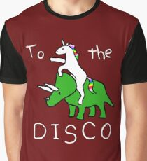 To The Disco (Unicorn Riding Triceratops) dark red background Graphic T-Shirt