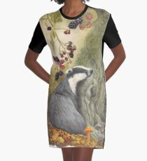 Autumn badger Graphic T-Shirt Dress