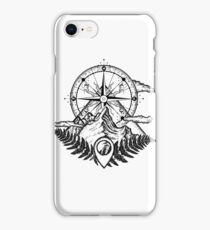 Mountains and compass iPhone Case/Skin