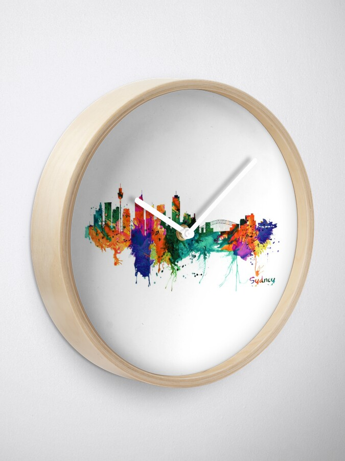Alternate view of Sydney watercolor skyline Clock