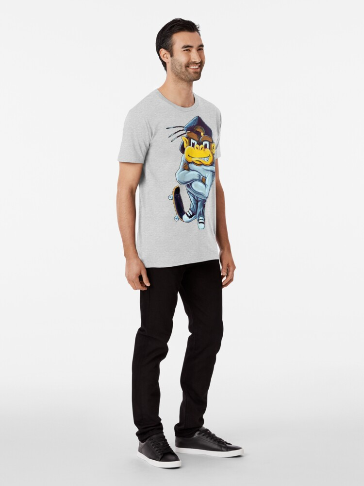 Alternate view of Cage Monster Skateboarder Premium T-Shirt