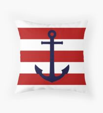Nautical Navy Blue Anchor On Red Stripes Throw Pillow