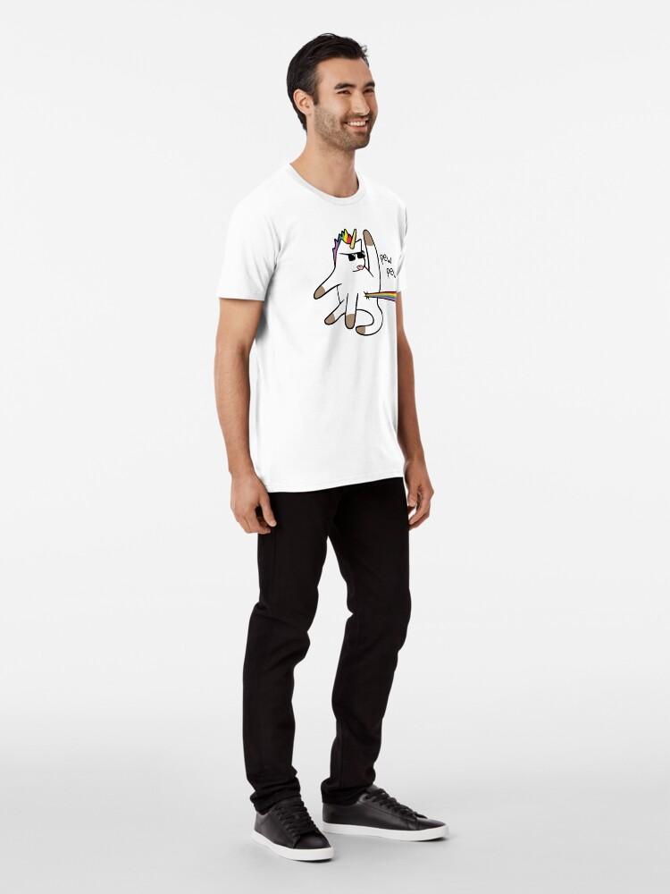 Vista alternativa de Camiseta premium Unicorn Cat Rainbow Butt Laser