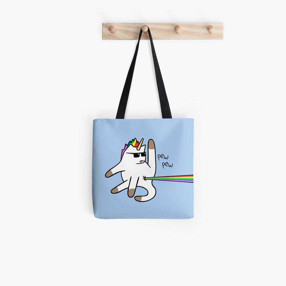 Unicorn Cat Rainbow Butt Laser Bolsa de tela