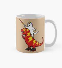 Unicorn Cat Riding Lightning T-Rex Mug