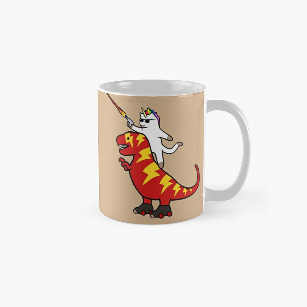 Unicorn Cat Riding Lightning T-Rex Mug
