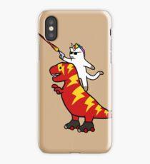 Unicorn Cat Riding Lightning T-Rex iPhone Case