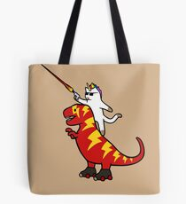 Bolsa de tela Unicornio Cat Riding Lightning T-Rex