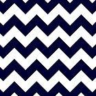 Navy Blue And White Chevron Stripes by rewstudio