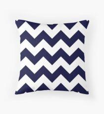 Navy Blue And White Chevron Stripes Throw Pillow