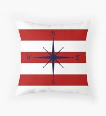 Nautical Navy Blue Compass On Red and White Stripes Throw Pillow