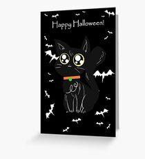 Happy Halloween - Black Big Eyed Cat Greeting Card