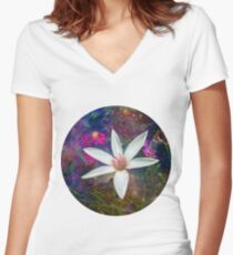 COSMIC FLORA Women's Fitted V-Neck T-Shirt