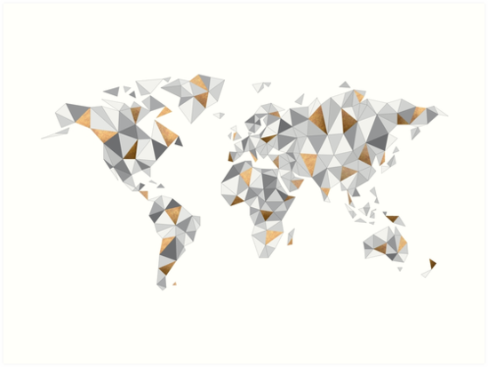 Carte Du Monde Origami.Mappemonde Carte Du Monde Triangles Abstraits Gris Bronze