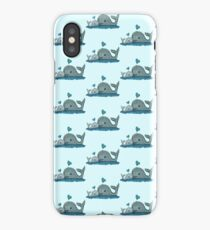 Cute Mom and Baby Whale with Blue Heart iPhone Case/Skin