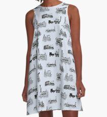 Antique Steam Engines // Steel Grey A-Line Dress