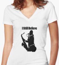 Still Believe black  Women's Fitted V-Neck T-Shirt