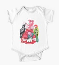 Four Calling Birds (12 Days of Christmas) - Pink One Piece - Short Sleeve