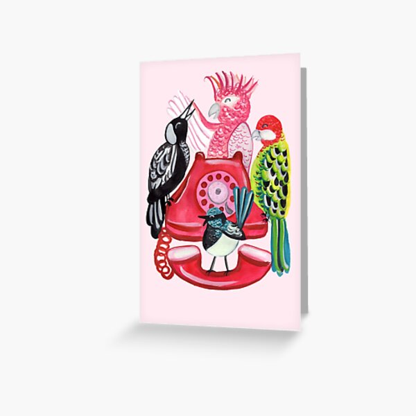 Four Calling Birds (12 Days of Christmas) - Pink Greeting Card