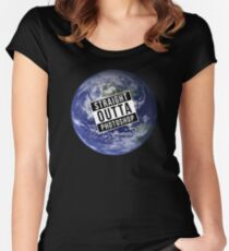 Straight Outta Photoshop Earth Women's Fitted Scoop T-Shirt
