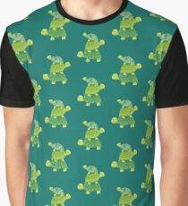 Cute Turtle Stack in Teal, Lime Green and Turquoise Graphic T-Shirt