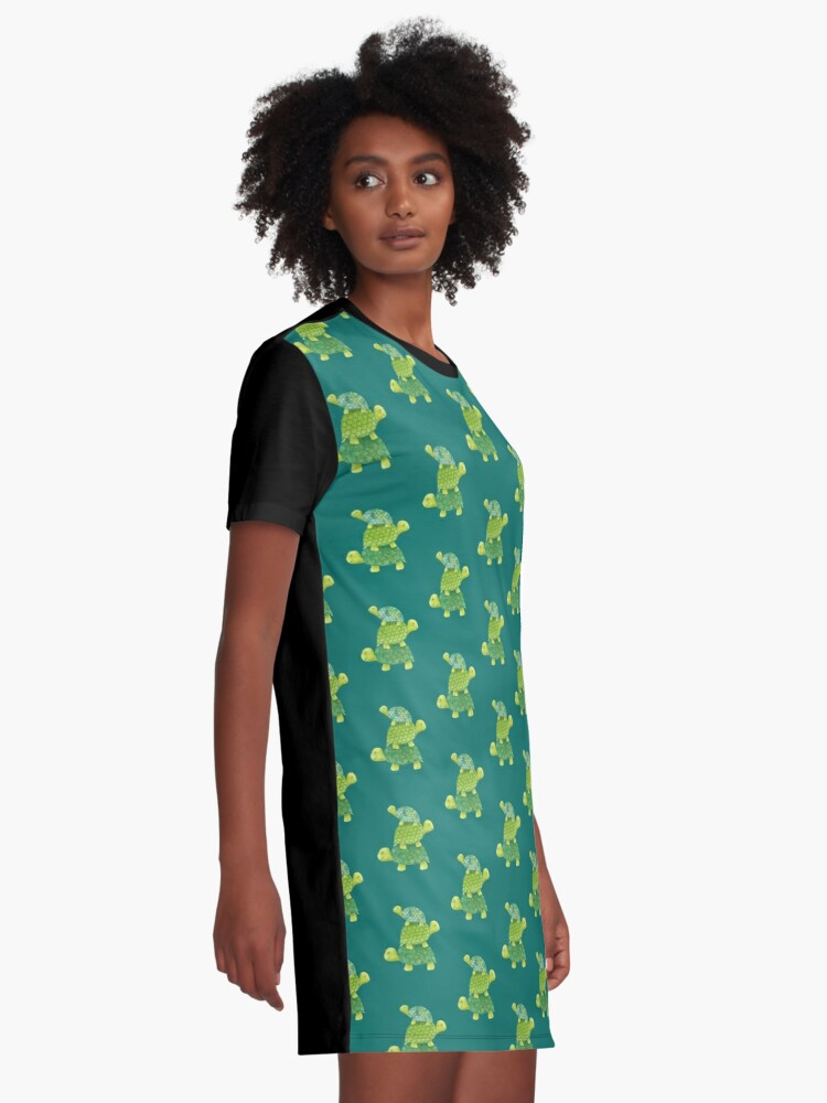 Alternate view of Cute Turtle Stack in Teal, Lime Green and Turquoise Graphic T-Shirt Dress
