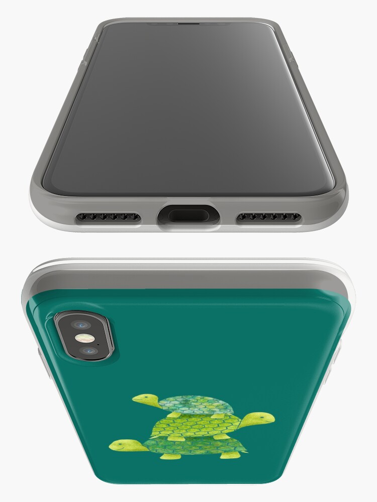Alternate view of Cute Turtle Stack in Teal, Lime Green and Turquoise iPhone Case & Cover