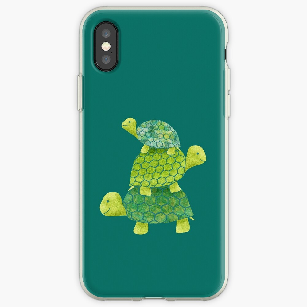 Cute Turtle Stack in Teal, Lime Green and Turquoise iPhone Case & Cover