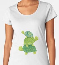 Cute Turtle Stack in Teal, Lime Green and Turquoise Women's Premium T-Shirt