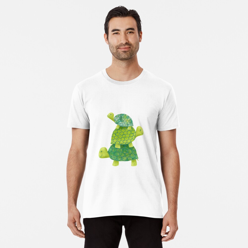 Cute Turtle Stack in Teal, Lime Green and Turquoise Premium T-Shirt