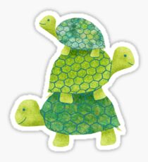 Niedlicher Schildkröten-Stapel in Teal, Limones Grün und Türkis Sticker