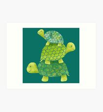 Cute Turtle Stack in Teal, Lime Green and Turquoise Art Print