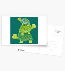 Cute Turtle Stack in Teal, Lime Green and Turquoise Postcards