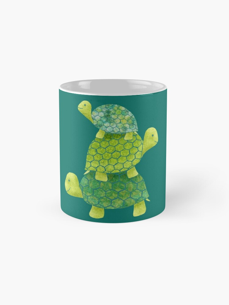 Alternate view of Cute Turtle Stack in Teal, Lime Green and Turquoise Mug