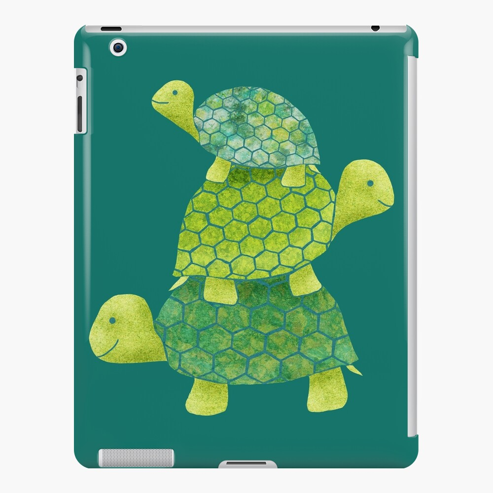 Cute Turtle Stack in Teal, Lime Green and Turquoise iPad Case & Skin