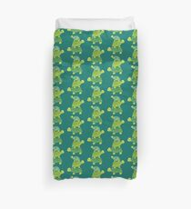 Cute Turtle Stack in Teal, Lime Green and Turquoise Duvet Cover