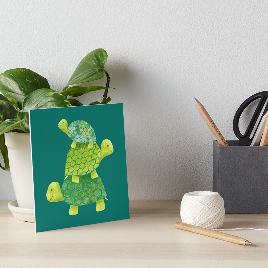 Cute Turtle Stack in Teal, Lime Green and Turquoise by ElephantTrunk