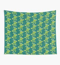 Cute Turtle Stack in Teal, Lime Green and Turquoise Wall Tapestry